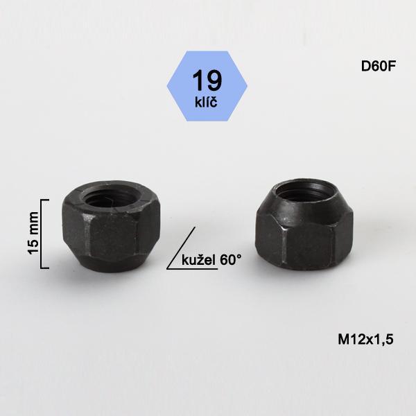Matice M12x1,5 kužel otevřená, klíč 19,černé, výška 15