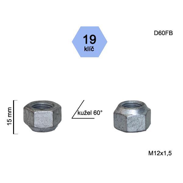 Matice M12x1,5 kužel otevřená, klíč 19, výška 15
