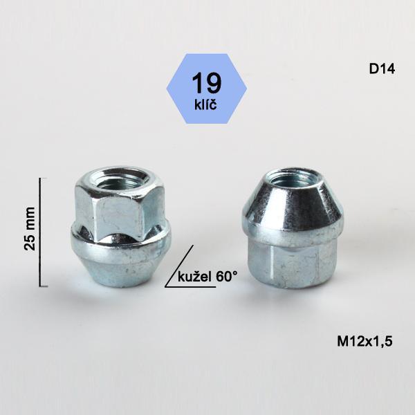 Matice M12x1,5 kužel otevřená, klíč 19; výška 25