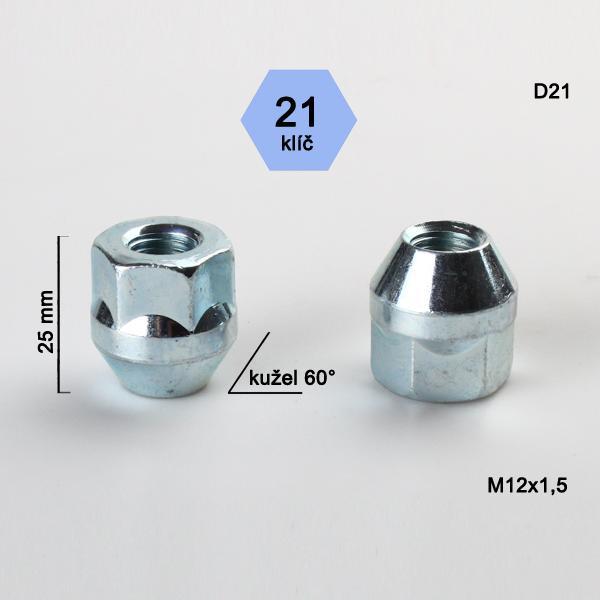 Matice M12x1,5 kužel, otevřená, klíč 21; výška 25