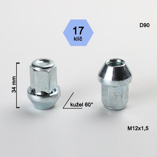Matice M12x1,5 kužel, zavřená, klíč 17; výška 34