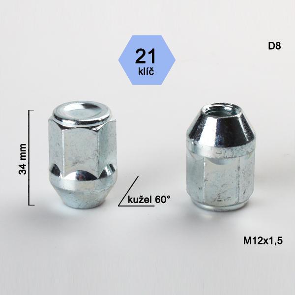 Matice M12x1,5 kužel, zavřená, klíč 21; výška 34