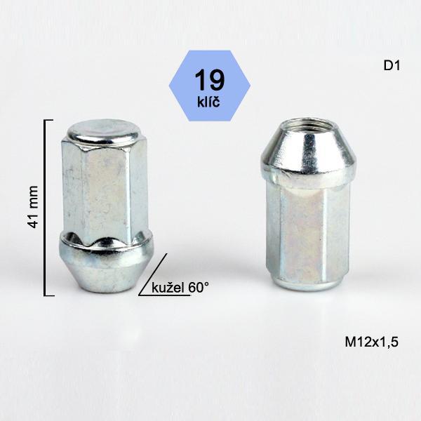 Matice M12x1,5 kužel zavřená prodloužená, klíč 19; výška 41