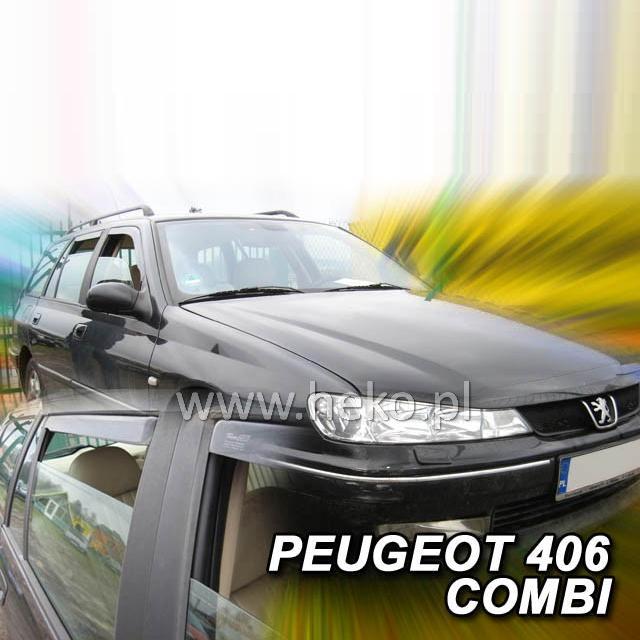 Protiprůvanové plexi ofuky (deflektory) Peugeot 406 4D 96R (+zadní) combi