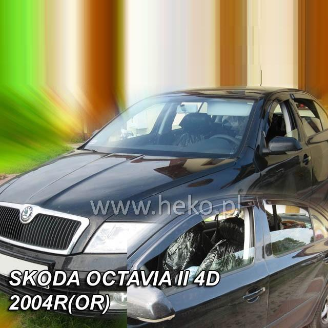 Protiprůvanové plexi ofuky (deflektory) Škoda Octávia 5D 04R (+zadní) ltb