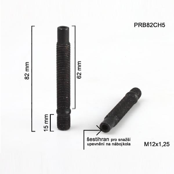 Šteft (svorník) M12x1,25x62+15 oboustranný závit, černý, celková délka 82