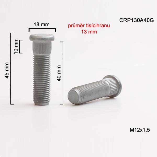Šteft (svorník) M12x1,5x40 tisícihran průměr 13mm