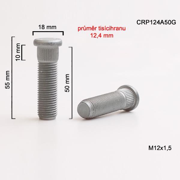Šteft (svorník) M12x1,5x50 tisícihran průměr 12,4mm