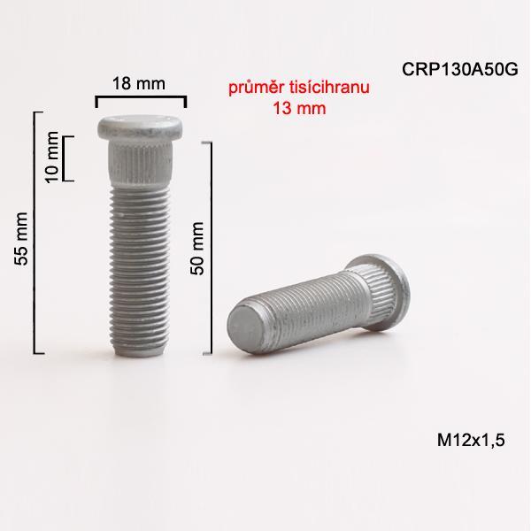 Šteft (svorník) M12x1,5x50 tisícihran průměr 13mm