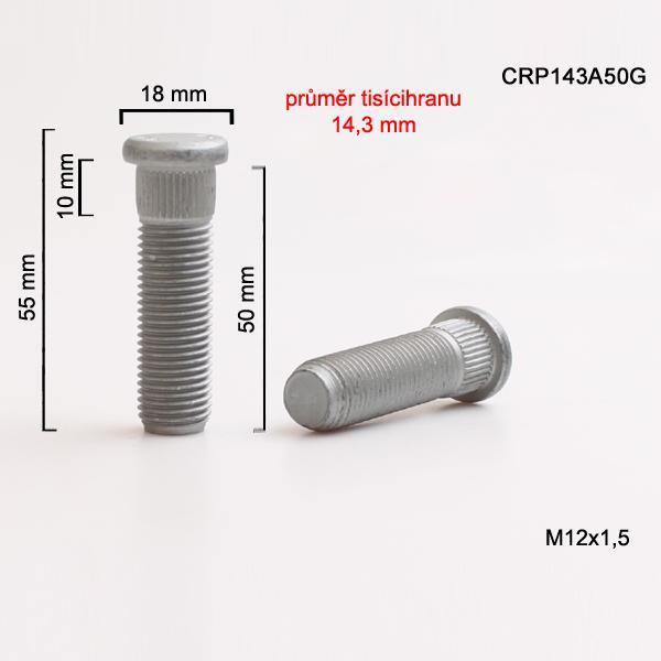 Šteft (svorník) M12x1,5x50 tisícihran průměr 14,3mm