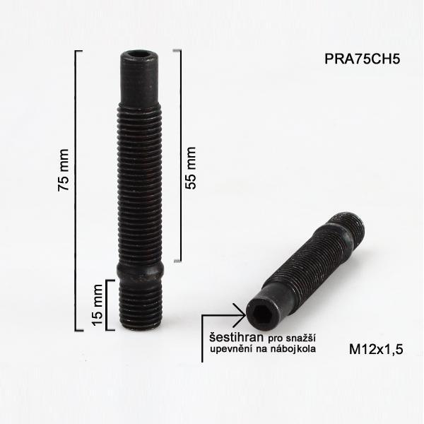 Šteft (svorník) M12x1,5x55+15 oboustranný závit, černý, celková délka 75