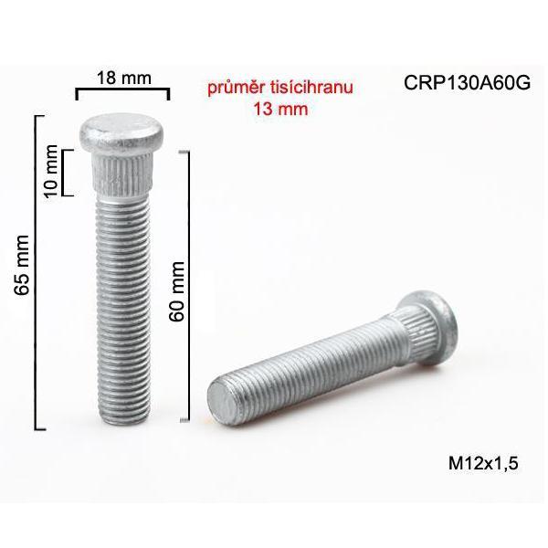 Šteft (svorník) M12x1,5x60 tisícihran průměr 13mm