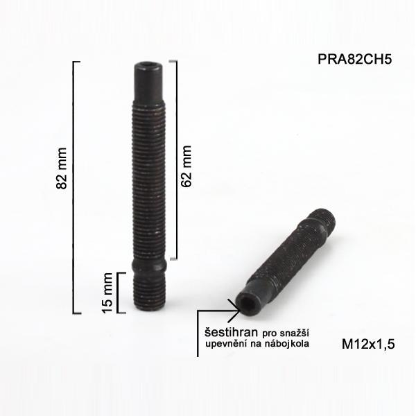 Šteft (svorník) M12x1,5x62+15 oboustranný závit, černý, celková délka 82