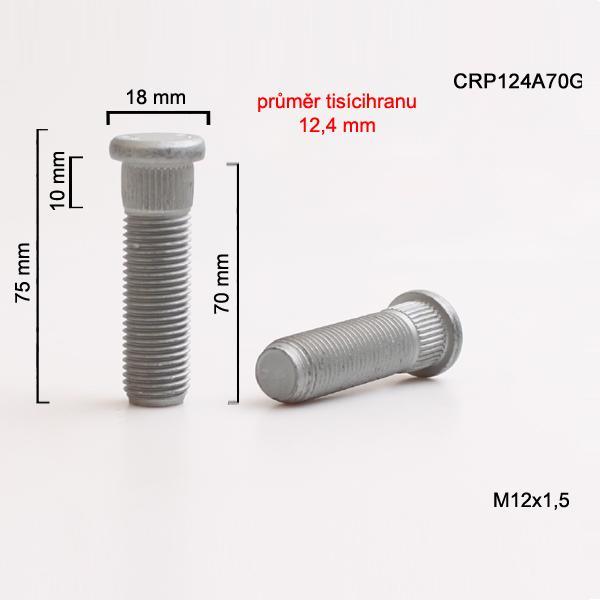 Šteft (svorník) M12x1,5x70 tisícihran průměr 12,4mm